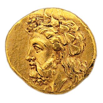 Lampsacus - Gold stater of Lampsacus with the ivy-wreathed head of Dionysus/Priapus, c. 360–340 BC