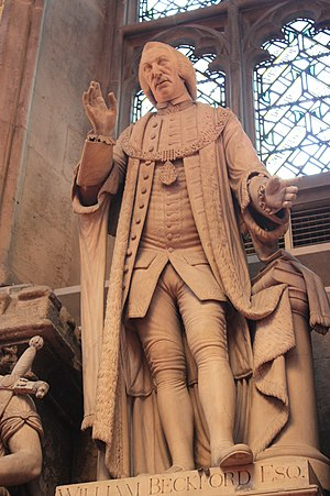 William Beckford (politician) - Statue of William Beckford atop the huge monument in his memory, Guildhall, London, by John Francis Moore