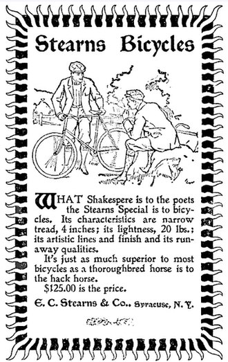 John Wilkinson (Franklin automobile) - Stearns Bicycle - advertisement - The Philistine, December, 1896