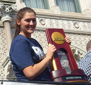Stefanie Dolson - Stefanie Dolson holding the championship trophy at the 2014 UConn men and women's national championship parade