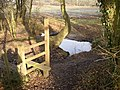 Stile and pond, Ash, Surrey - geograph.org.uk - 111930.jpg