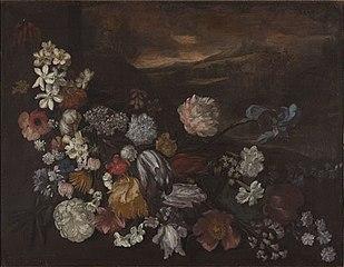 Stilleven met bloemen voor een landschap