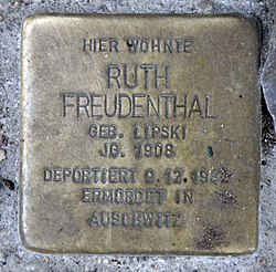 Photo of Ruth Freudenthal brass plaque