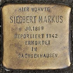 Photo of Siegbert Markus brass plaque