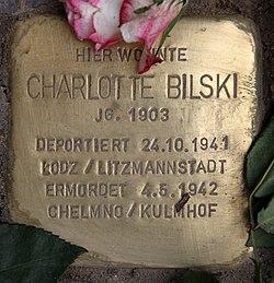 Photo of Charlotte Bilski brass plaque