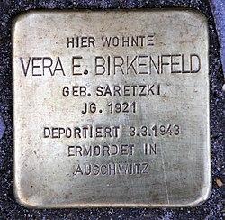 Photo of Vera Ernestine Birkenfeld brass plaque