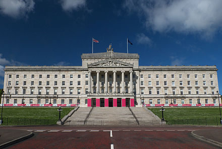 Stormont is home to the Northern Ireland Assembly. Stormont Parliament Buildings during Giro d'Italia, May 2014(6).jpg