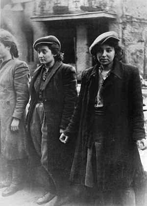 "Warsaw Ghetto Uprising - Stroop Report original caption: ""HeHalutz women captured with weapons."" Jewish resistance women, among them Malka Zdrojewicz (right), who survived the Majdanek extermination camp."
