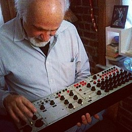 Subotnick with vintage '60s Buchla 100 modules.jpg