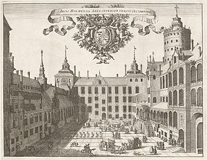 Willem Boy - Courtyard of the Three Crown Castle with the royal church on the left
