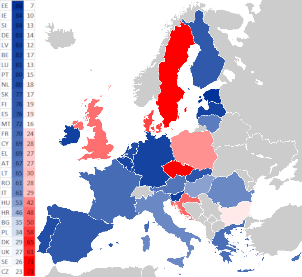Support for the euro in the EU Eurobarometer Q1 2018