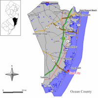 Map of Surf City in Ocean County. Inset: Location of Ocean County highlighted in the State of New Jersey.