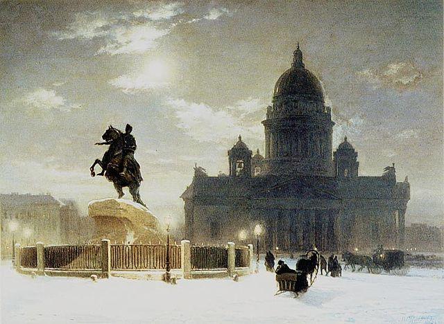 «Вид памятника Петру I на Сенатской площади в Санкт-Петербурге»