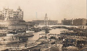 Suzhou Creek - View of the General Post Office in the 1920s from Garden Bridge.