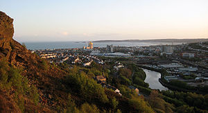 Swansea City Centre - Swansea city centre and Swansea Bay seen from Kilvey Hill