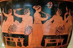 scène de banquet du peintre Nicias (Wikicommons)