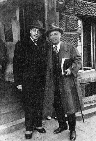 George Szell - George Szell and composer Jaroslav Křička during the staging of Křička's opera The Gentleman in White in Prague, April 1932.