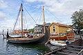 Tønsberg Norway Saga Oseberg Farmann Kristina av Tunsberg Viking ship replicas Harbour Havn Pier Board walk Dock Brygga Vikingodden Lindahlplan Kaldnes bro footbridge Kanalen Byfjorden Sjøbodkvartalet TB etc 2019-08-16 04192.jpg