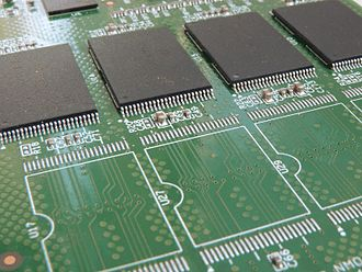 Footprint (electronics) - Populated (rear) and unpopulated (front) TSOP land patterns on a printed circuit board.