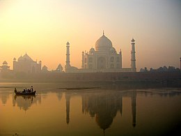 Taj Mahal reflection on Yamuna river, Agra.jpg
