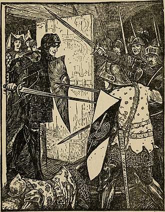 "Agravain - ""He killed Sir Agrawaine with his first blow, and in a few minutes twelve dead bodies lay around him."" Andrew Lang's Tales of the Round Table (1908)"