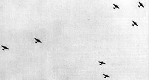 Aerial warfare in the Winter War - Soviet Tupolev SB bombers appears on the sky above Helsinki 30 November 1939.