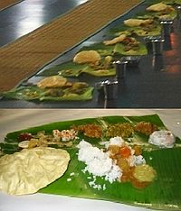 Traditional Tamil lunch served in banana leaf