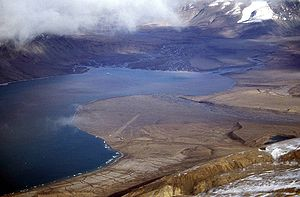 Arctic Cordillera - Tanquary Fiord, showing confluence of Air Force River, Rollrock River and Macdonald River