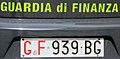 Targa automobilistica Italia 1985 GdiF*939•BG Guardia di Finanza posteriore.jpg