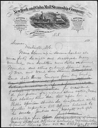 Charles Dwight Sigsbee - A telegram from Sigsbee to Secretary of the Navy John Davis Long on the destruction of the USS Maine
