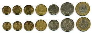 Kazakhstani tenge - 1, 2, 5, 10, 20, 50 and 100 tenge coins