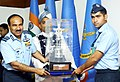 The Chief of the Air Staff, Air Chief Marshal Arup Raha presenting the trophy for Best Sportsman in IAF to AC Kapil Kumar, during the Air Force Commanders' Conference, in New Delhi on April 02, 2014.jpg