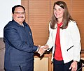 The Co-Chair & Trustee, Bill and Melinda Gates Foundation, Ms. Melinda Gates calling on the Union Minister for Health & Family Welfare, Shri J.P. Nadda, in New Delhi on March 11, 2016.jpg