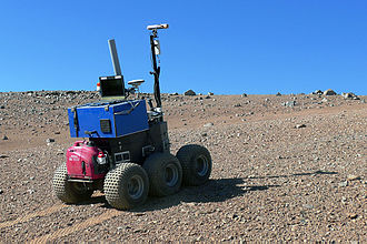 Vehicular automation - The ESA Seeker autonomous rover during tests at Paranal.