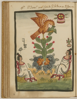 Coat of arms of Mexico - Variation of the founding myth as shown in the post-Conquest Tovar Codex, where the eagle is devouring a bird.