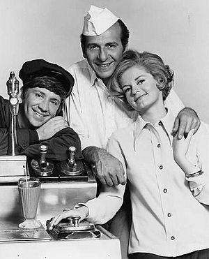 The Good Guys (1968 TV series) - From left: Bob Denver, Herb Edelman, Joyce Van Patten