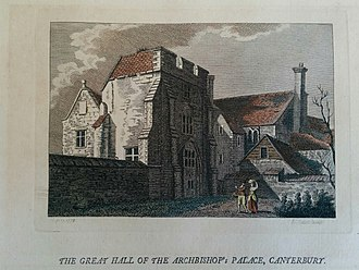 """Old Palace, Canterbury - """"The Great Hall of the Archbishop's Palace, Canterbury"""", published 1773"""