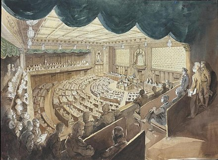 A drawing depicting a speech in the Imperial Japanese Diet on November 1, 1945, the end of the Second World War. In the foreground there are several Allied soldiers watching the proceedings from the back of the balcony. The Imperial Japanese Diet, Tokyo - the House of Representatives Art.IWMARTLD5841.jpg