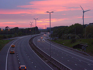 Transport in Reading, Berkshire - Looking west from Junction 11 of the M4 motorway near Green Park Business Park