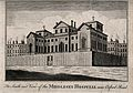 The Middlesex Hospital; seen from the south-east. Engraving. Wellcome V0013603.jpg