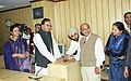 The Minister of Youth Affairs and Sports, Shri Sunil Dutt pressing a button to launch the 'Sportal' a website on sports, designed by the Ministry of Youth Affairs and Sports in New Delhi on November 30, 2004.jpg