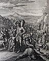 The Phillip Medhurst Picture Torah 412. Moses striking the rock. Exodus cap 17 vv 5-6. Caspar Luyken.jpg