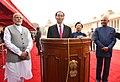 The President, Shri Ram Nath Kovind and the Prime Minister, Shri Narendra Modi with the President of the Socialist Republic of Vietnam, Mr. Tran Dai Quang, at the Ceremonial Reception, at Rashtrapati Bhavan, in New Delhi (2).jpg