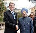 The Prime Minister, Dr. Manmohan Singh shaking hands with the Prime Minister of Finland, Mr. Matti Vanhanen, in Helsinki, Finland on October 12, 2006 (1).jpg