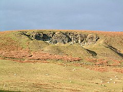 Old quarry at Mynydd (mountain) Henllys which overlooks Henllys