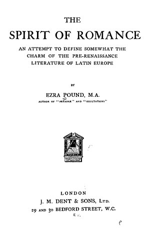 The Spirit of Romance - Title page, first edition