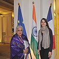 The Union Minister for Culture, Smt. Chandresh Kumari Katoch called on the Minister of Culture and Communication of France, Ms. Mme Aurelie Filippetti, in Paris on April 04, 2013.jpg