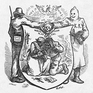 Harper's Weekly cartoon from October 1874 depicting White League and Klan opposition to Reconstruction