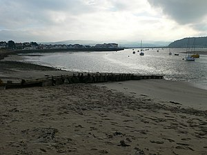"History of Gwynedd during the High Middle Ages - Beach at Deganwy. Prince Gruffudd slew Robert ""of Rhuddlan"" near here in battle around 3 July 1093."