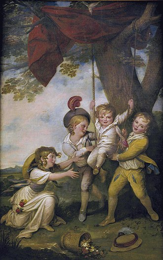 Courtenay Boyle - The young Courtenay Boyle is depicted playing with his brothers Edmund and Richard, and his sister Lucy, in a painting by Richard Cosway, circa 1775
